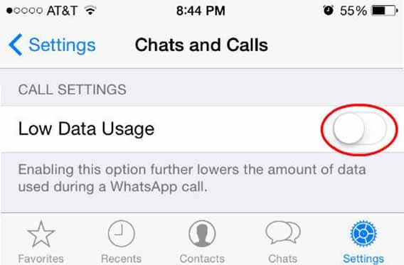 Redução do uso de dados do WhatsApp