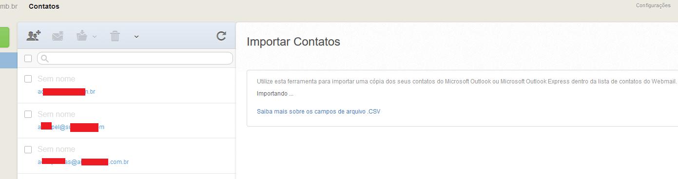 WebMail NSEC - Importando contatos